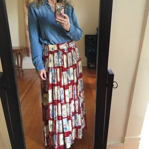 Vintage '90s Red patchwork floral print maxi Skirt
